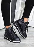 Ботинки на платформе черная кожа 7510-28, фото 3