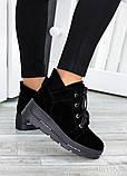 Ботинки на платформе черная замша 7511-28, фото 2