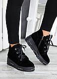 Ботинки на платформе черная замша 7511-28, фото 3