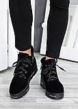 Ботинки на платформе черная замша 7511-28, фото 4