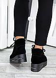 Ботинки на платформе черная замша 7511-28, фото 5