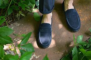 Лоферы натуральная замша синие, фото 2