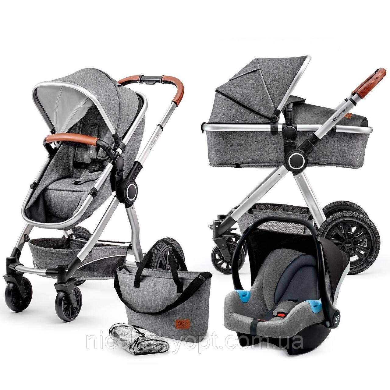 Универсальная коляска 3 в 1 Kinderkraft Veo Gray (KKWVEOGRY30000)