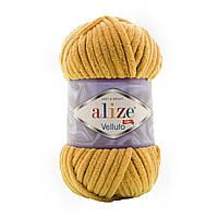 Alize Velluto (Ализе Веллуто) №2 горчица (Пряжа велюр, нитки плюшевые для вязания)