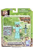 Уцінка коробки Стів в алмазній броні фігурка Майнкрафт Minecraft Diamond Steve Action оригінал Jazwares