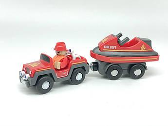 Набор машинок для деревянной железной дороги PlayTive Ikea Brio Пожарный катер