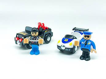 Набір машинок для деревяної залізниці PlayTive Ikea Brio Поліцейське Переслідування