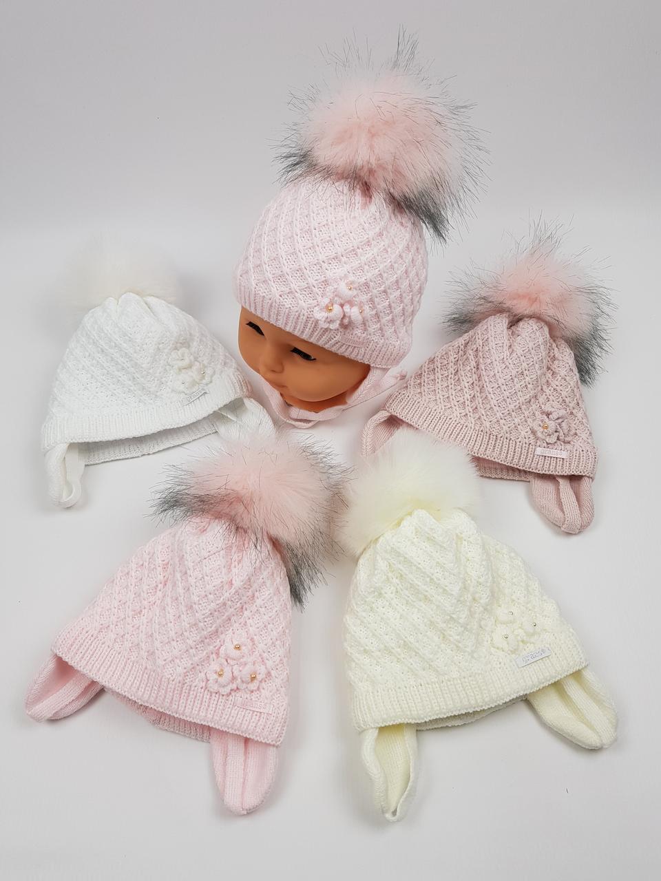 Дитячі зимові шапки на флісі з помпоном і зав'язками для дівчаток оптом, р. 36-38, Польща (Grans)