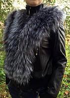 Кожаная  женская  куртка с мехом чернобурки.