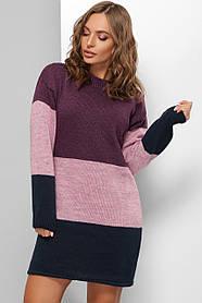 Платье вязаное из качественной пряжи фиолетового цвета