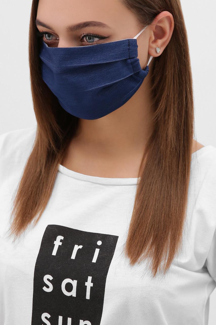 Джинсова Багаторазова захисна маска в горошок для особи на гумці