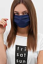 Джинсова Багаторазова захисна маска в горошок для особи на гумці, фото 3