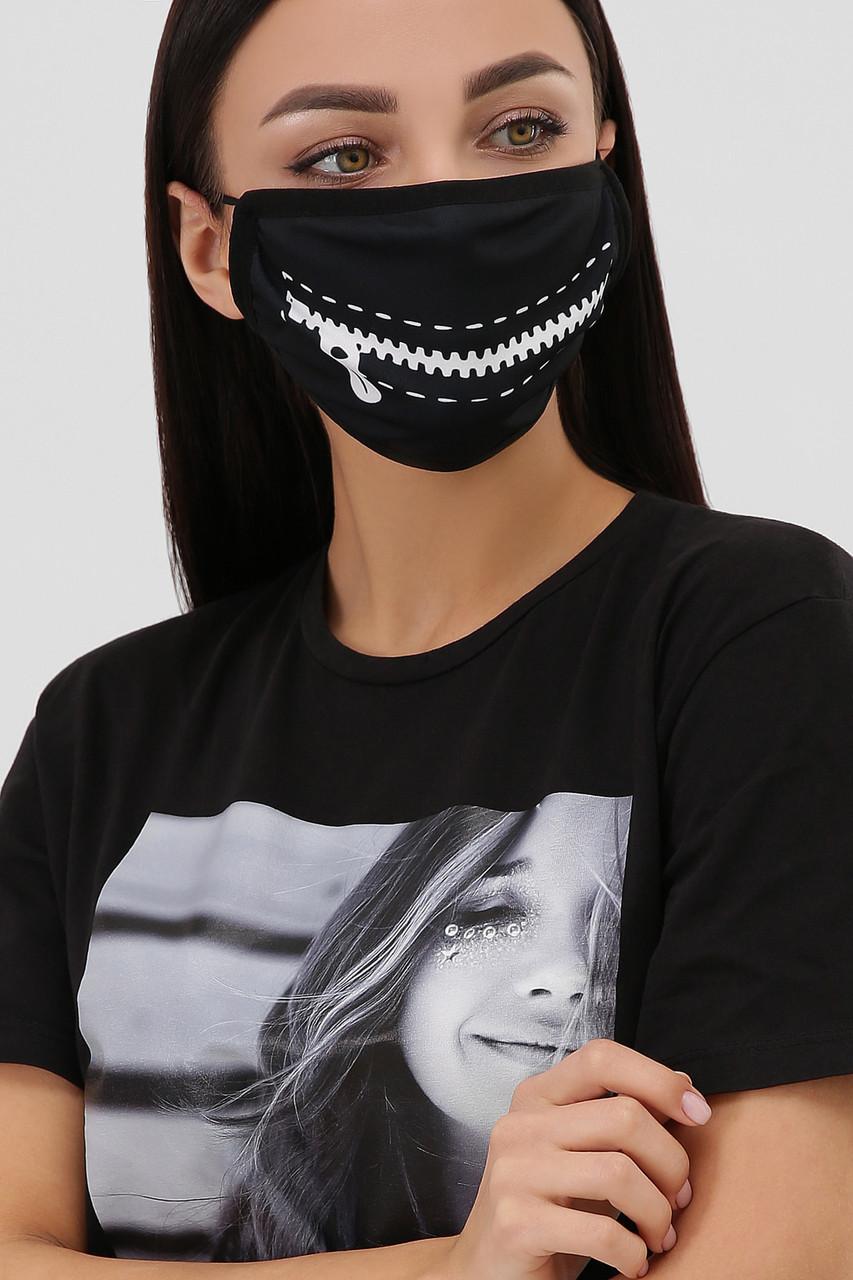 Многоразовая защитная тканевая маска черная для лица на резинке