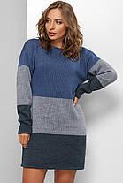 Плаття в'язане з якісної пряжі синє, фото 3