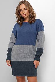 Платье вязаное из качественной пряжи синее
