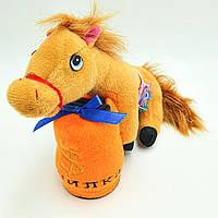 Копилка музыкальная мягкая игрушка Лошадка  с мешком копилкой коричневый, фото 1