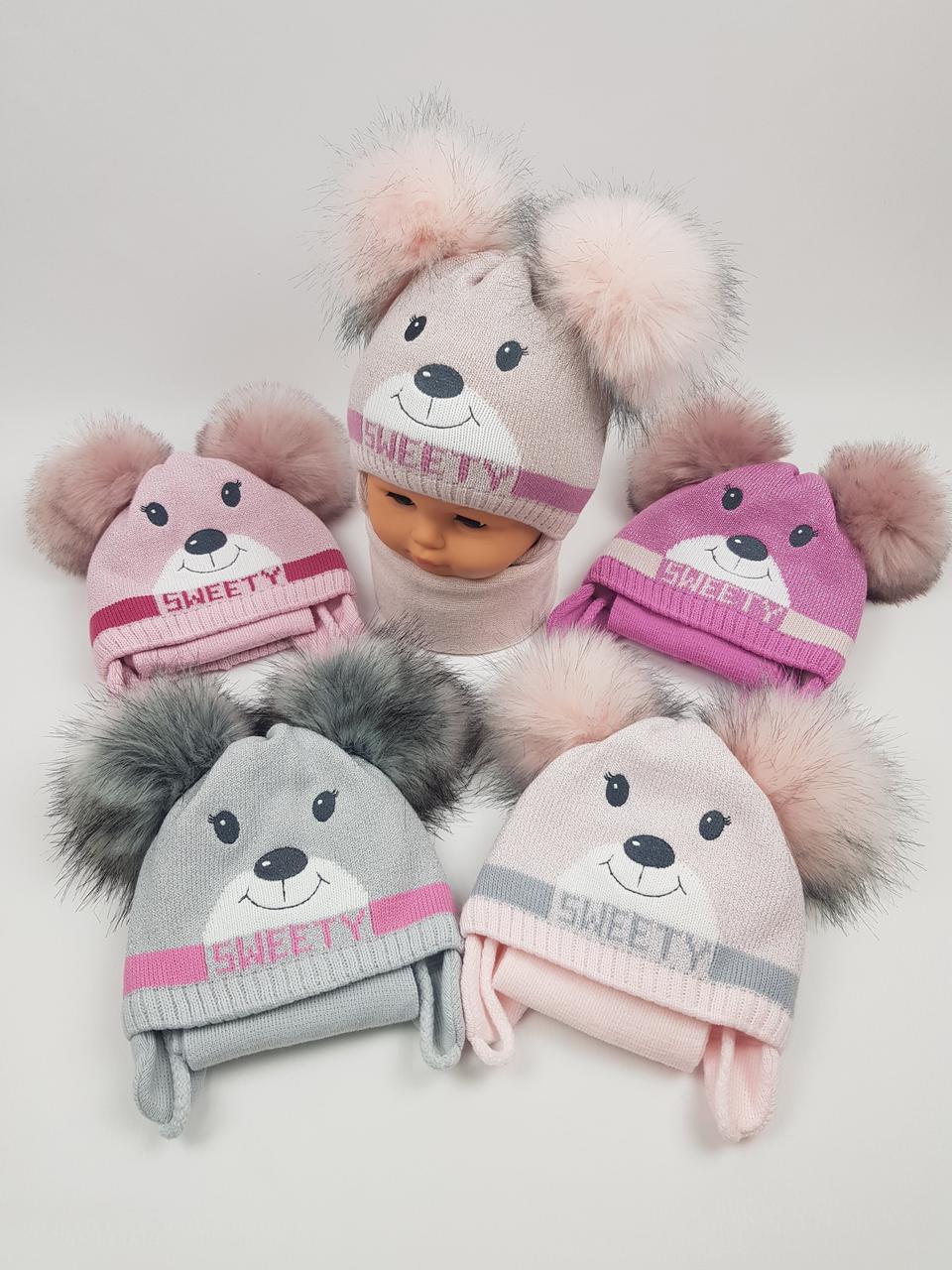 Детские зимние шапки на флисе с двумя помпонами, завязками и шарфом для девочек оптом, р.40-42, Польша (Grans)