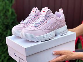 Розовые женские кроссовки кожаные, фото 2