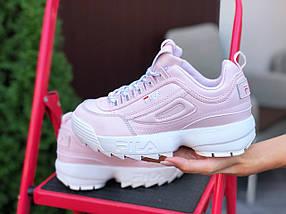 Розовые женские кроссовки кожаные, фото 3