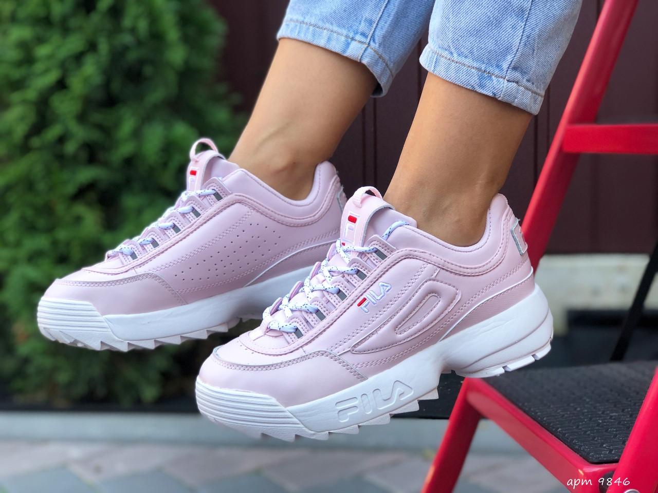 Розовые женские кроссовки кожаные