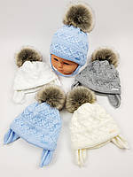 Детские зимние шапки на флисе с помпоном и завязками для мальчиков оптом, р.36-38, Польша (Grans), фото 1