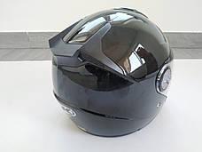 Шлем AK-720 открытый + встроеные очки, черный, фото 3