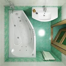 Гідромасажна ванна з врізним змішувачем Triton Скарлет права, 1670х960х580 мм