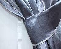 Ткань для штор из атласа. Цвет графитовый, код №38ша