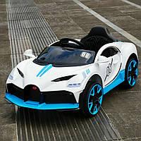 Детский электромобиль спорткар белый на EVA колесах детям от 3 лет с пультом аккумулятором с MP3 мотор 2*18W