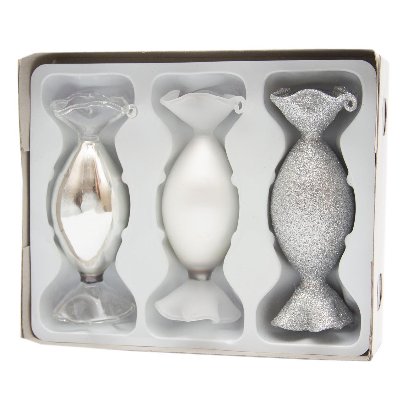 Набор елочных игрушек - конфеты, 3 шт, 3,5*10 см, серебристый, микс, стекло (390151-15)