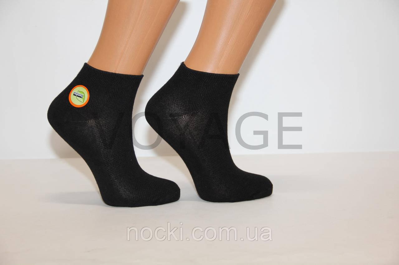 Женские носки короткие с бамбука в сетку НЕЖО 35-39 черный