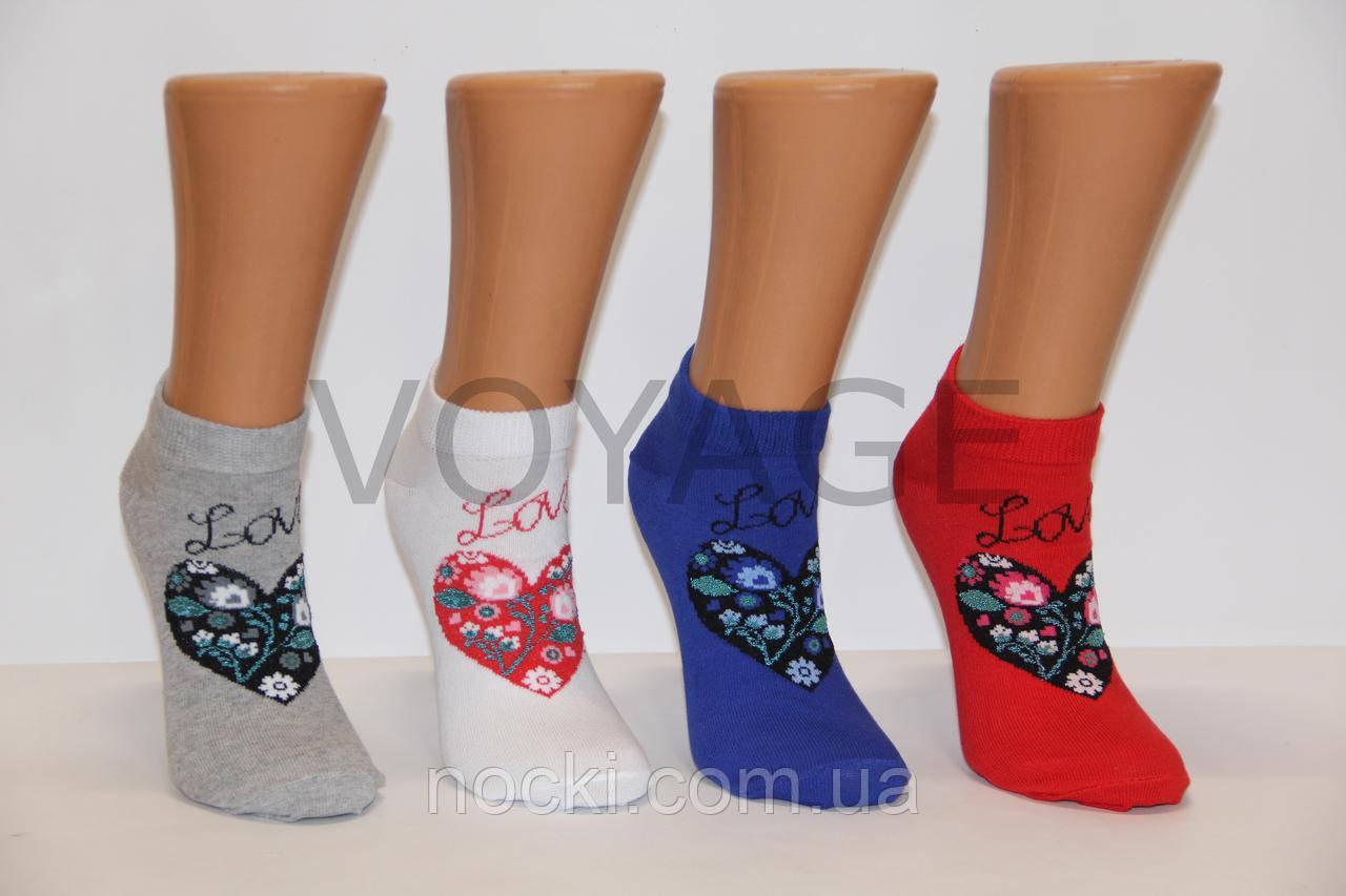 Женские носки короткие Ф3   сердце