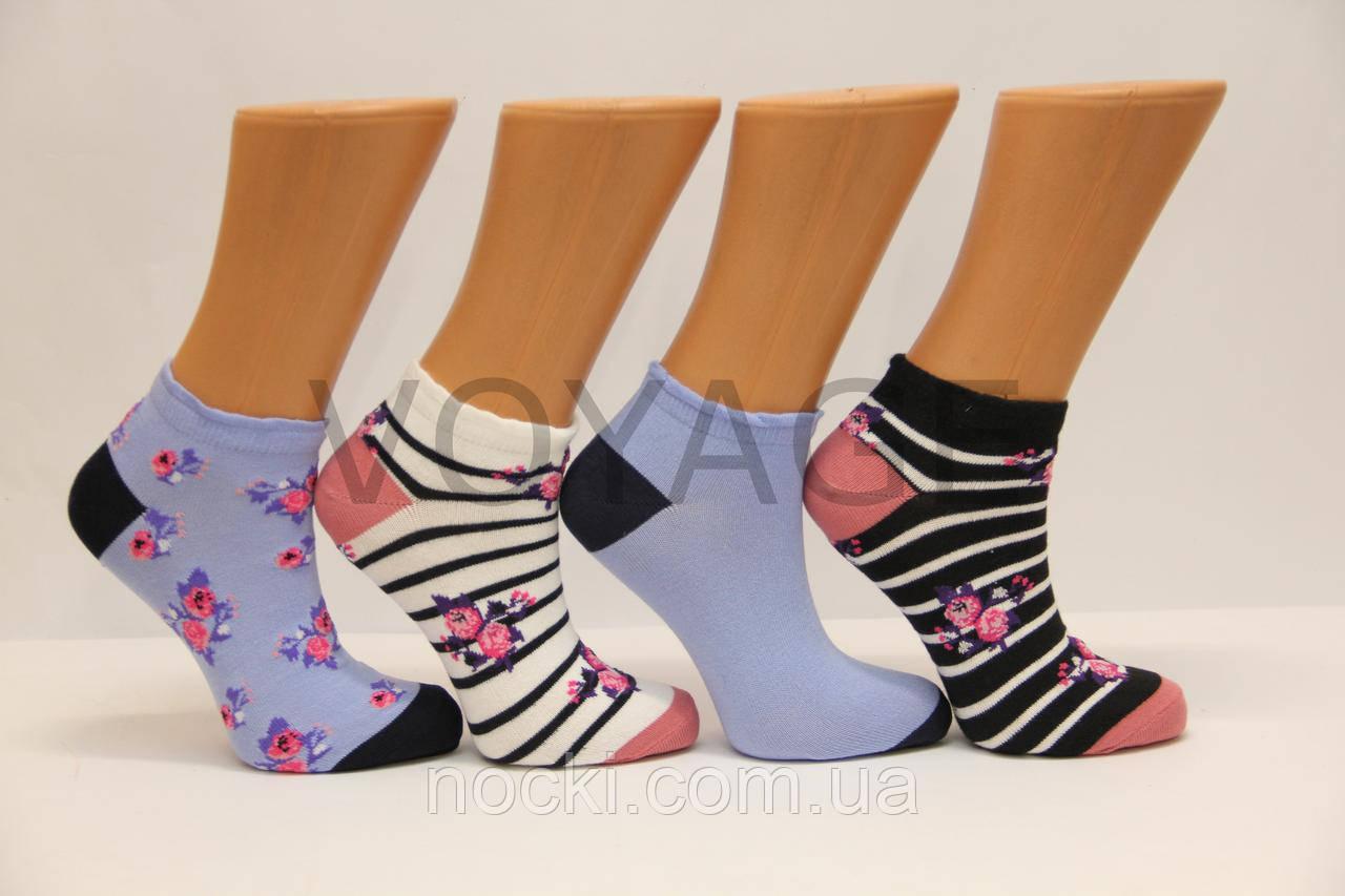 Женские носки короткие Ф3   маленькие цветочки