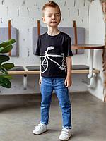 Черная футболка для мальчика в детский садик с рисунком 110, 116, 122, 128, 134