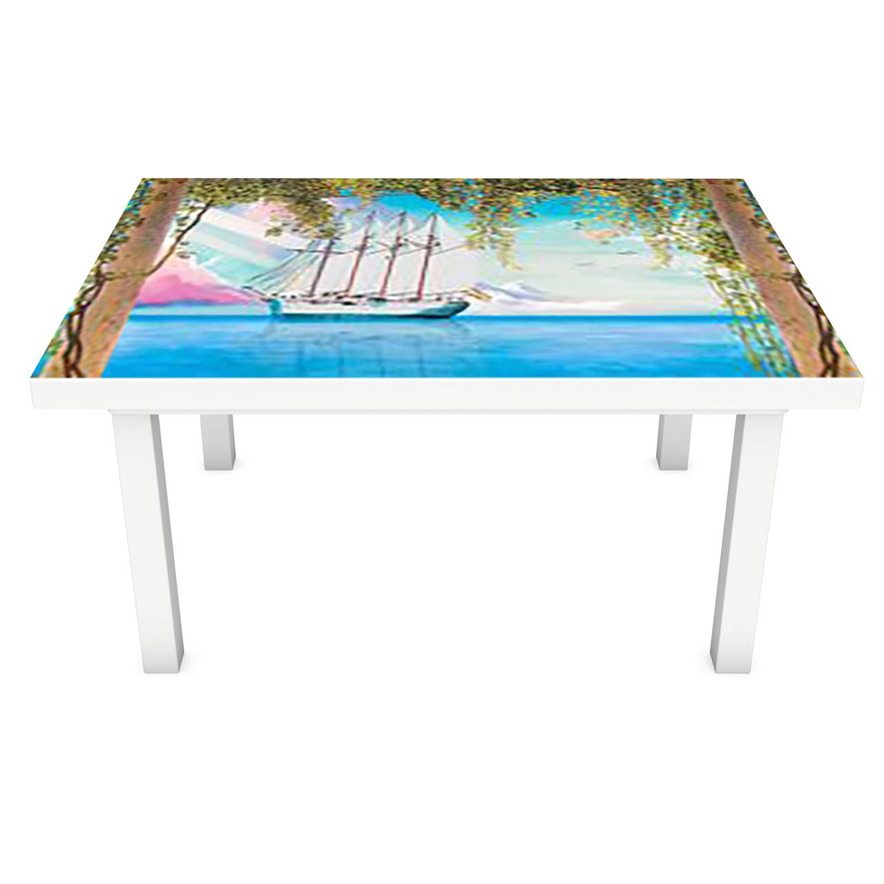 Наклейка на стол Нарисованные Корабли (3Д виниловая пленка 3Д) колонны Море Голубой 600*1200 мм