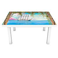 Наклейка на стол Нарисованные Корабли (3Д виниловая пленка 3Д) колонны Море Голубой 600*1200 мм, фото 1