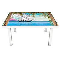 Наклейка на стол Нарисованные Корабли 3Д виниловая пленка колонны Море Голубой 600*1200 мм