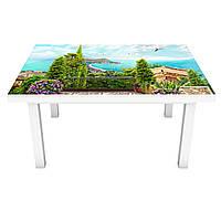 Наклейка на стол Вид на бирюзовую бухту 3Д виниловая пленка пейзаж Море Голубой 600*1200 мм