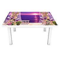 Наклейка на стол Солнечный закат на террасе 3Д виниловая пленка Море Фиолетовый 600*1200 мм