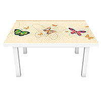 Наклейка на стіл Яскраві метелики 3Д вінілова плівка метелики Тварини Бежевий 600*1200 мм