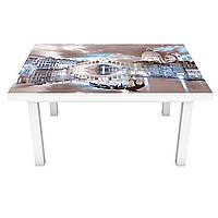 Наклейка на стол Фантазийная Венеция 3Д виниловая пленка Архитектура Бежевый 600*1200 мм