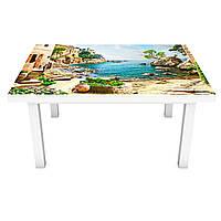 Наклейка на стол Побережье Греция 3Д виниловая пленка город Море Бежевый 600*1200 мм