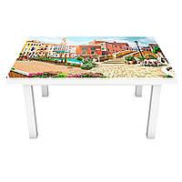 Наклейка на стол Испания Цветные дома 3Д виниловая пленка город Бежевый 600*1200 мм