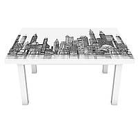Наклейка на стол Серый Город 3Д виниловая пленка небоскребы Архитектура 600*1200 мм