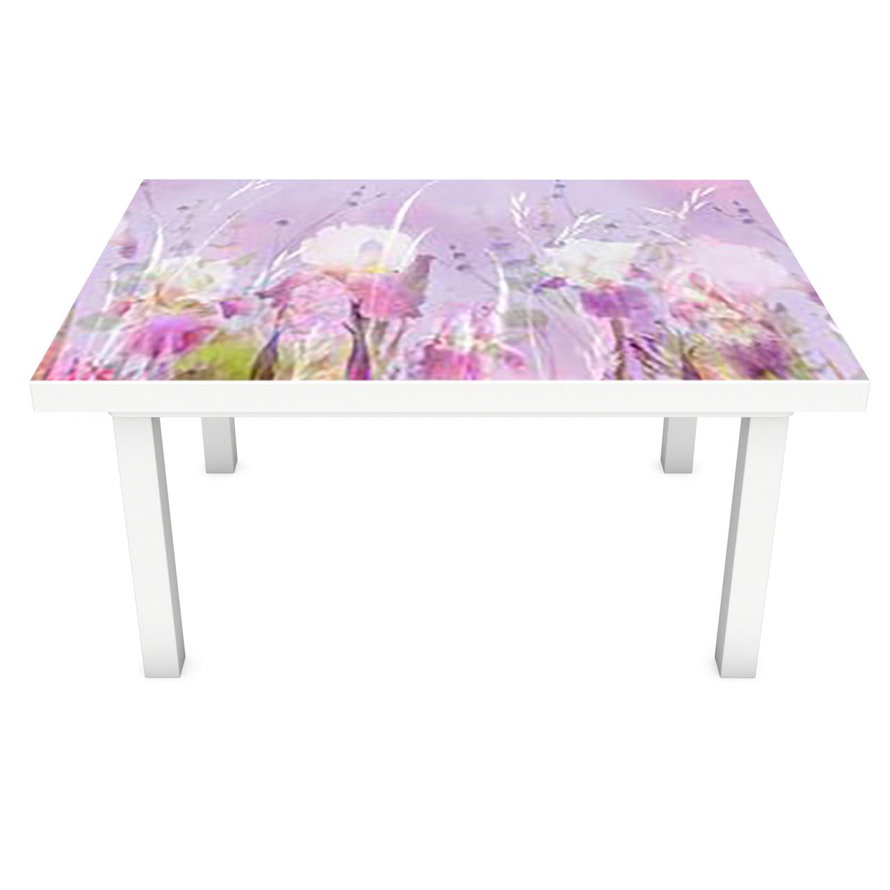 Наклейка на стол Акварельные Ирисы (3Д виниловая пленка 3Д) краски Цветы Фиолетовый 600*1200 мм