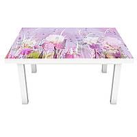 Наклейка на стол Акварельные Ирисы (3Д виниловая пленка 3Д) краски Цветы Фиолетовый 600*1200 мм, фото 1