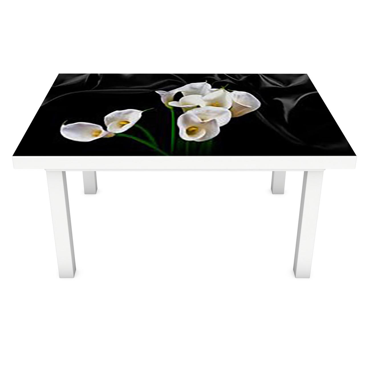 Наклейка на стол Белые Каллы (3Д виниловая пленка 3Д) Цветы на черном фоне 600*1200 мм