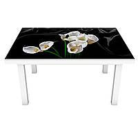 Наклейка на стол Белые Каллы (3Д виниловая пленка 3Д) Цветы на черном фоне 600*1200 мм, фото 1