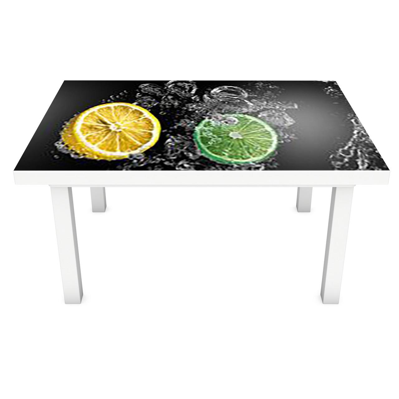 Наклейка на стол Лимоны и Лаймы в воде (3Д виниловая пленка 3Д) цитрусы брызги Фрукты Серый 600*1200 мм