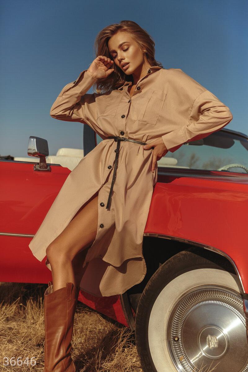 Платье-рубашка oversize бежевое